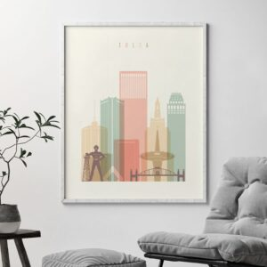 Tulsa poster skyline pastel cream second