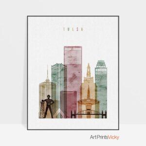Tulsa art print watercolor 1
