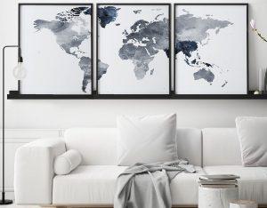 World map set of 3 prints grey blue second