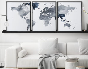 World map set of 3 prints grey blue second