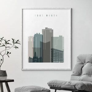 Fort Worth art print skyline earth tones 4 second