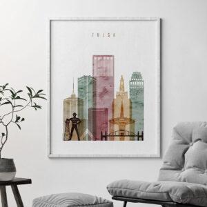Tulsa art print watercolor 1 second