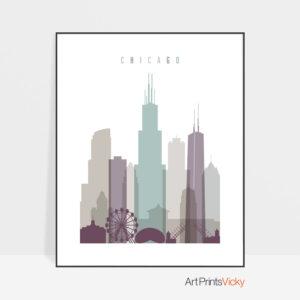 Chicago print skyline pastel 2