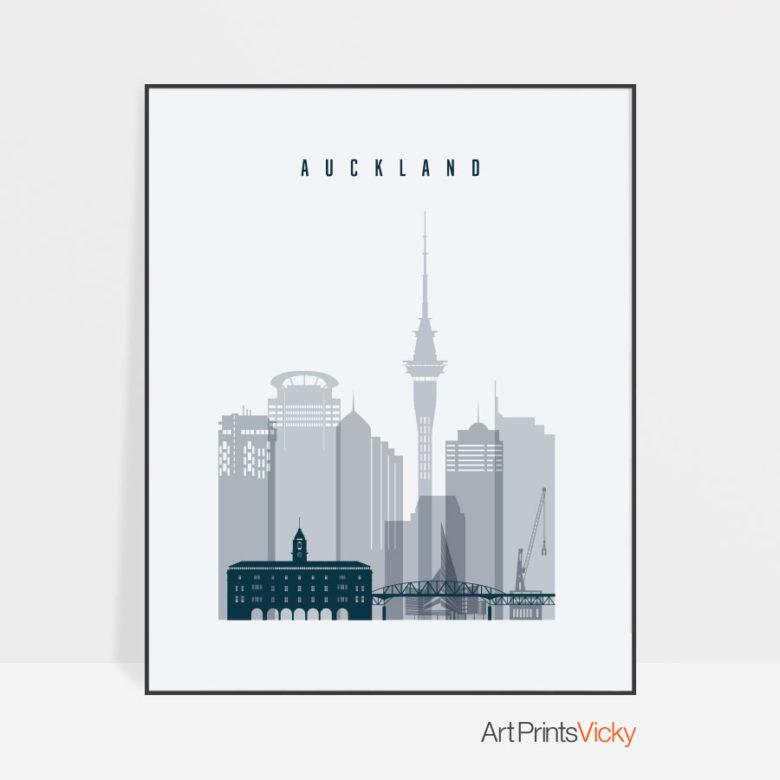 Auckland skyline poster grey blue
