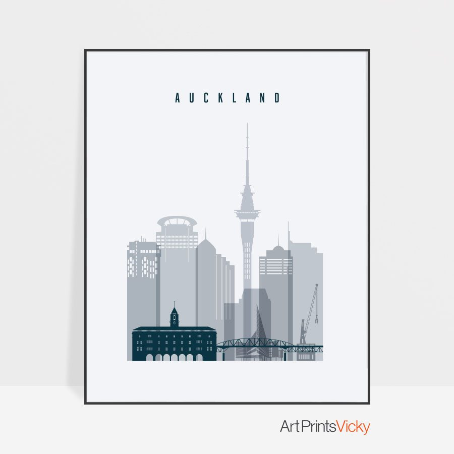 Auckland skyline poster grey blue