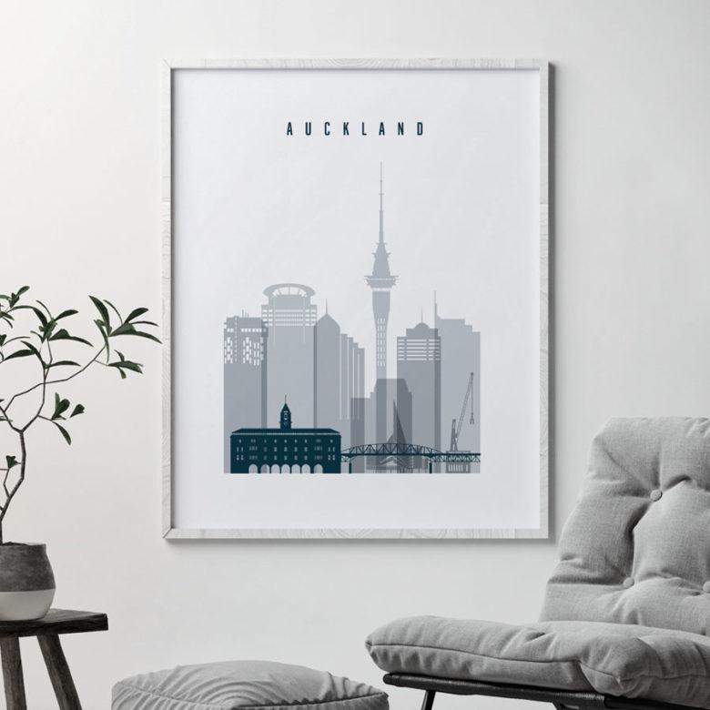 Auckland skyline poster grey blue second
