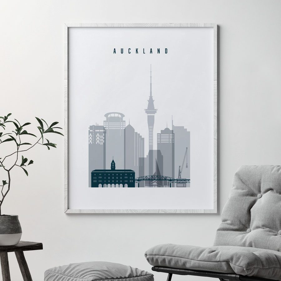 Auckland skyline poster grey blue second