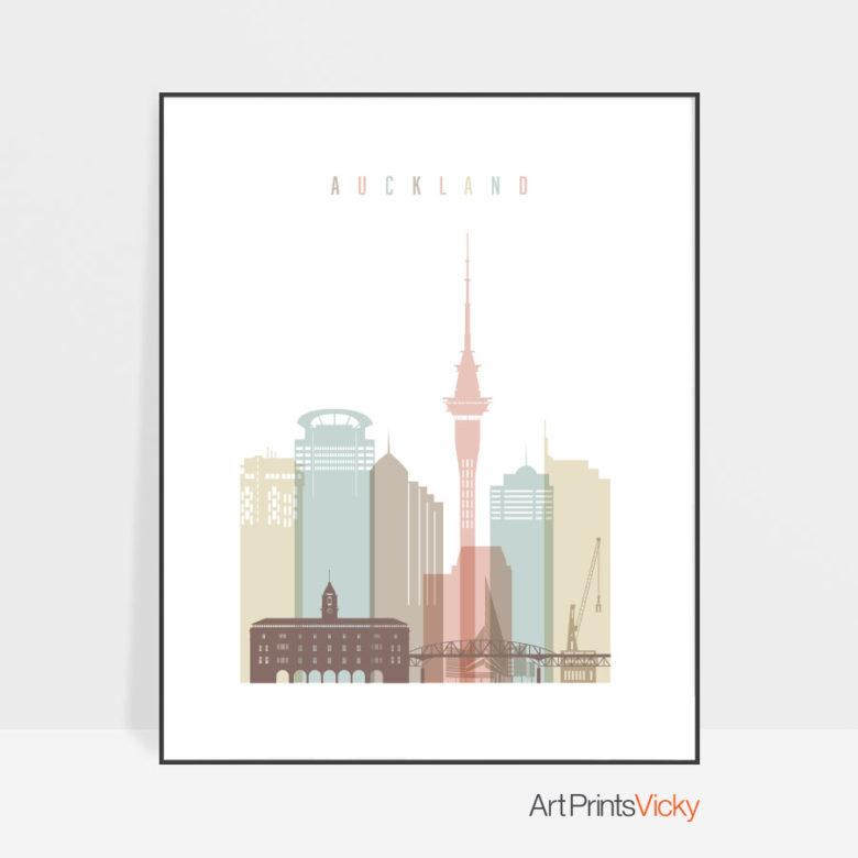 Auckland art print skyline pastel white