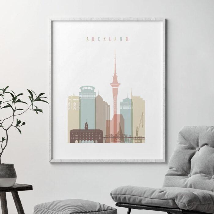 Auckland art print skyline pastel white second