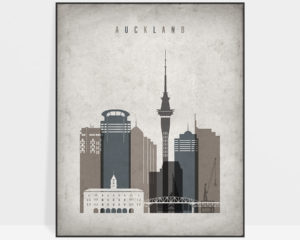 Auckland skyline wall art retro