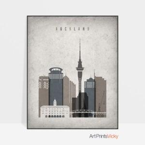 Auckland skyline wall art retro