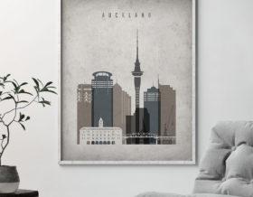 Auckland skyline wall art retro second