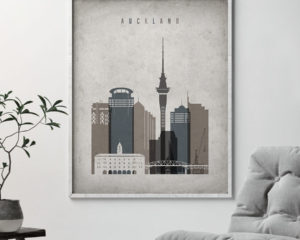 Auckland skyline wall art retro second