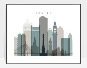 Boston skyline print landscape earth tones 4