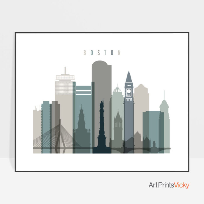 Boston skyline print landscape earth tones 4