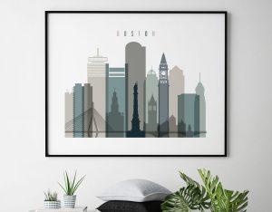 Boston skyline print landscape earth tones 4 second
