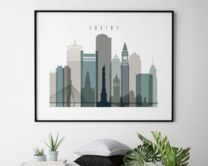 Boston skyline print landscape earth tones 4 second