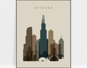 Chicago art print earth tones 3