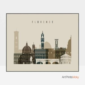 florence art print landscape earth tones 3,florence skyline poster,florence skyline print,florence wall art prints,florence travel poster