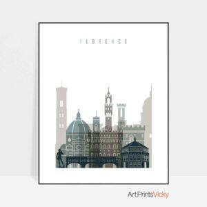 Florence art print skyline earth tones 4