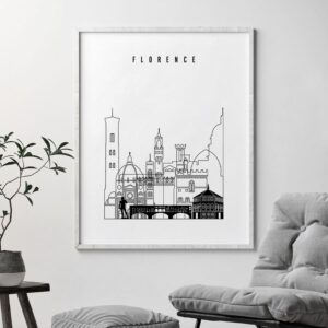Florence black and white skyline poster second
