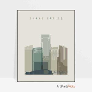 Grand Rapids print skyline earth tones 1