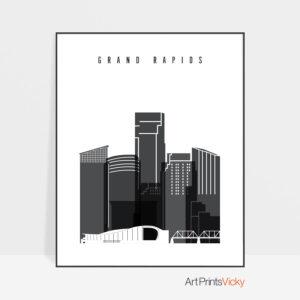 Grand Rapids skyline black and white art