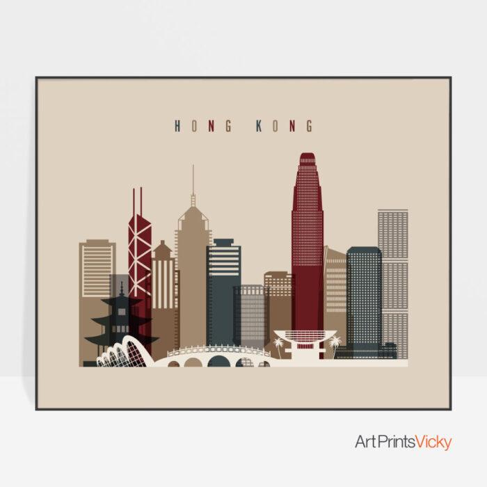 Hong Kong print landscape earth tones 2