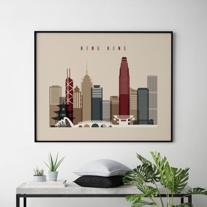 Hong Kong print landscape earth tones 2 second