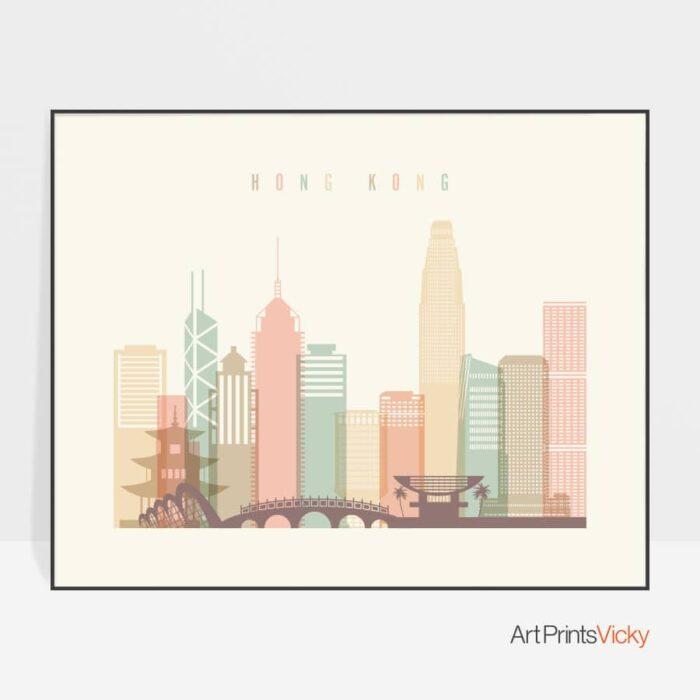 Hong Kong travel poster pastel cream landscape
