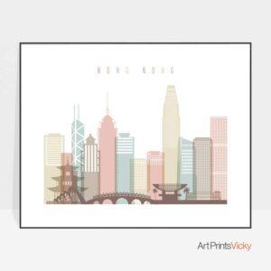 Hong Kong poster skyline pastel white