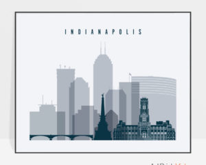 Indianapolis skyline art grey blue landscape