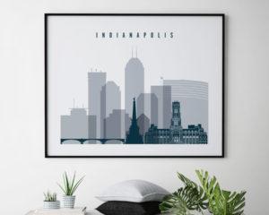 Indianapolis skyline art grey blue landscape second