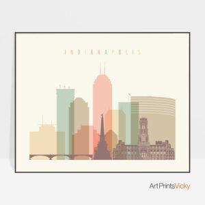 Indianapolis print pastel cream landscape