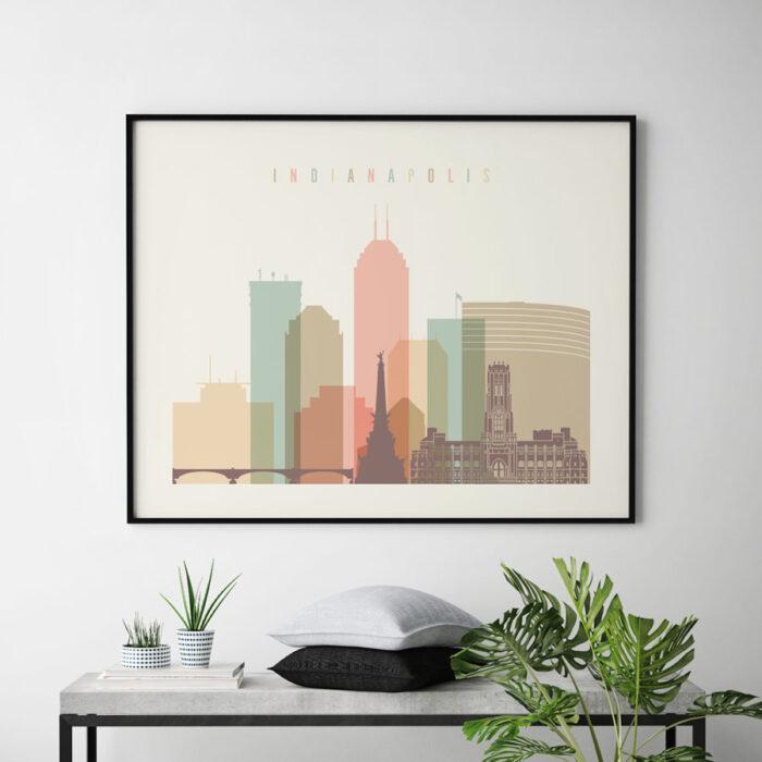 Indianapolis print pastel cream landscape second