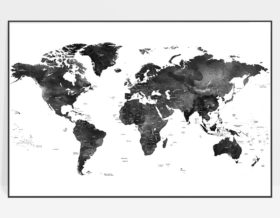 World map black and white poster detailed