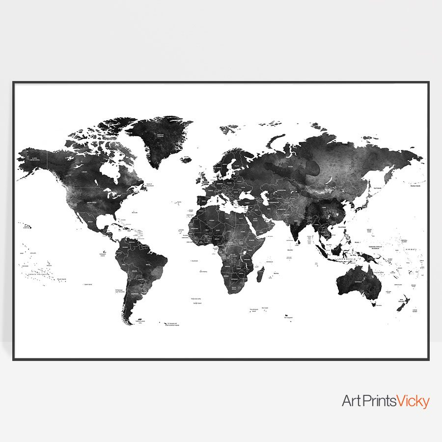 World map black and white poster detailed artprintsvicky world map black and white poster detailed gumiabroncs Gallery