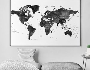 World map black and white poster detailed second