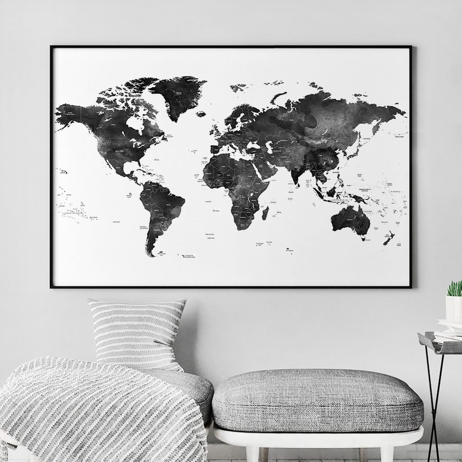 World Map Black And White Poster Detailed ArtPrintsVicky - Map of the world poster black and white