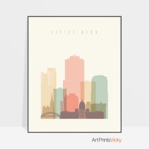Little Rock art print skyline pastel cream