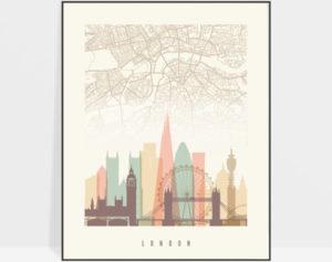 London map print poster pastel cream