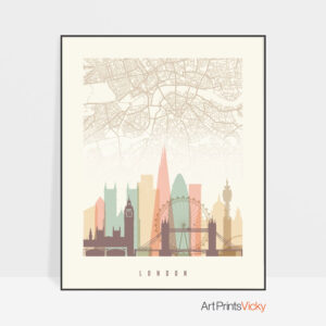 London map print poster pastel cream