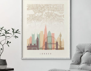 London map print poster pastel cream second