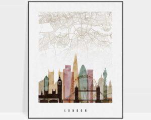 London map print poster watercolor 1