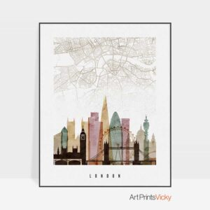London map print poster watercolor 1