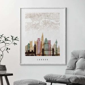 London map print poster watercolor 1 second