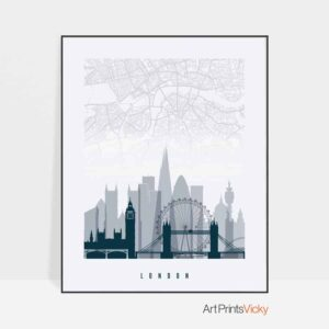 London map print skyline poster grey blue