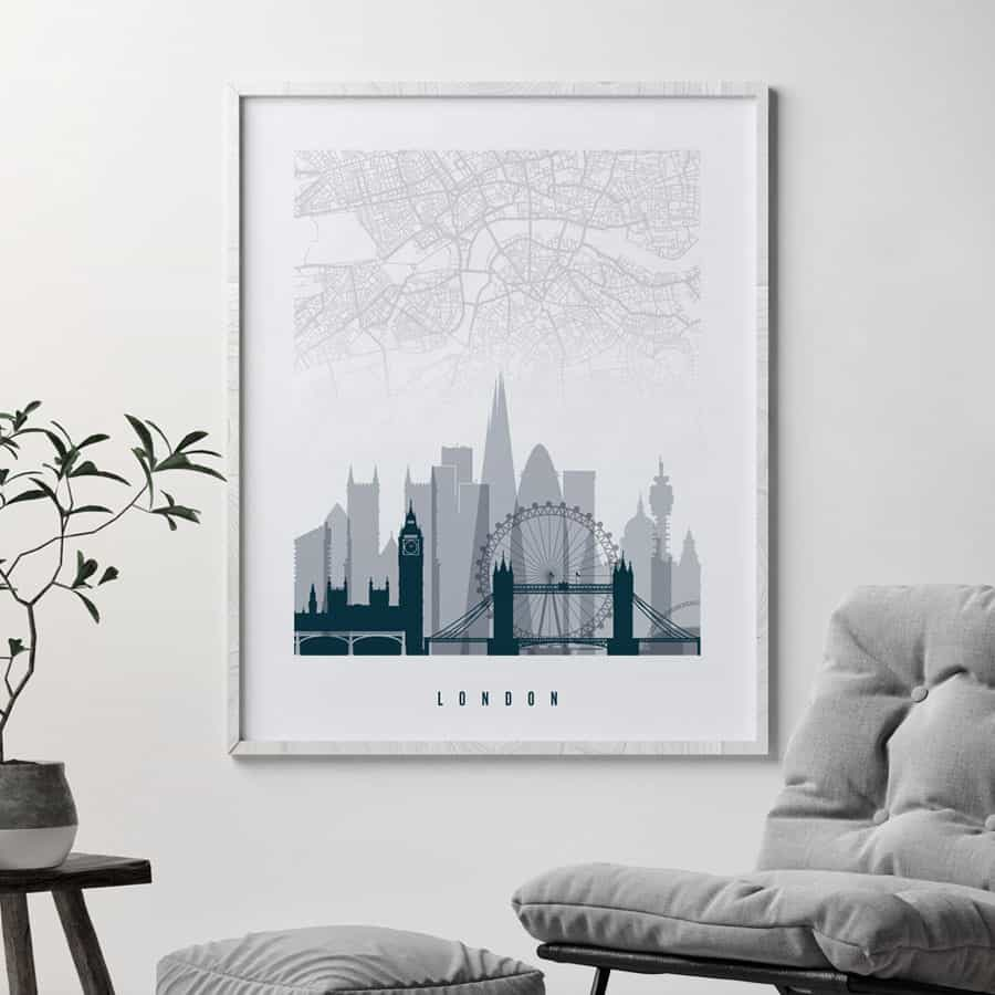 London map print skyline poster grey blue second