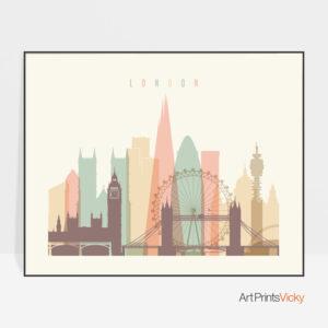 London travel poster pastel cream landscape
