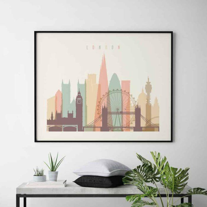 London travel poster pastel cream landscape second